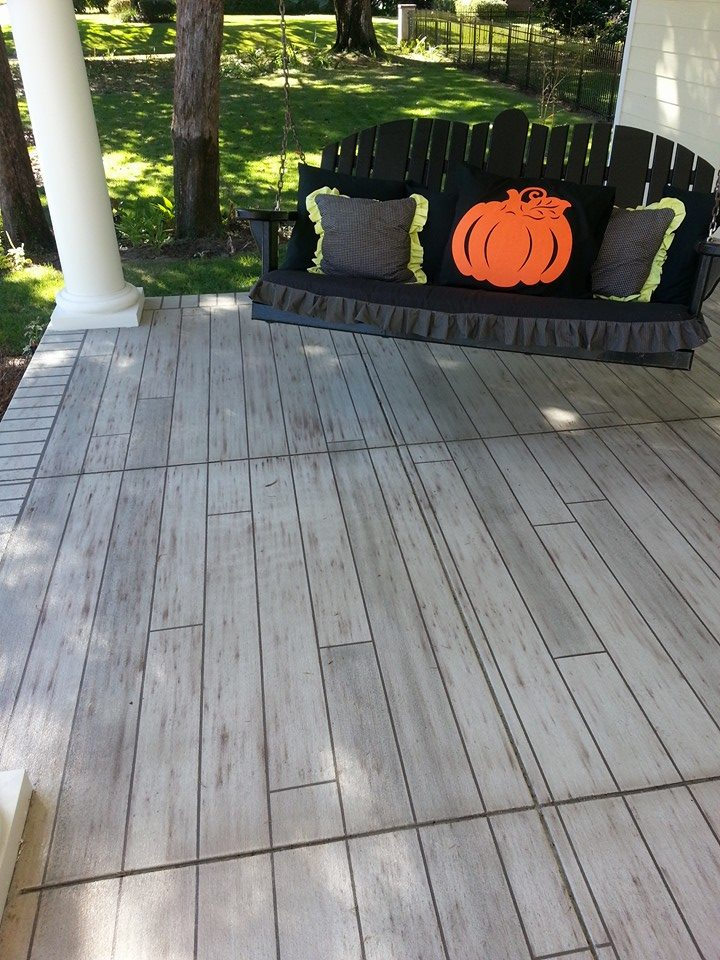 Gray wood front porch