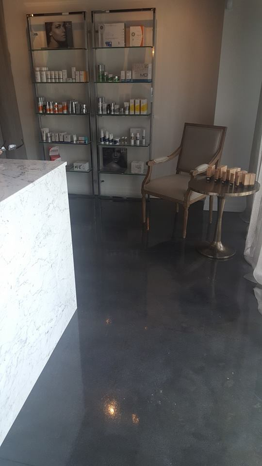 Salon gray stained floors