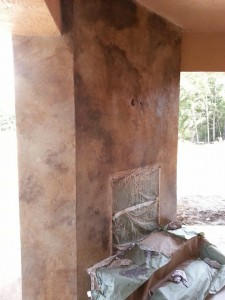 faux stained fireplace