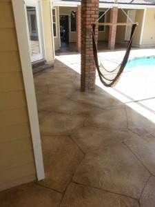 flagestone pool deck with wood