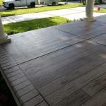 gray wood front porch side