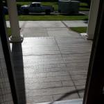gray wood porch front door