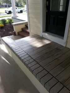 gray wood porch side