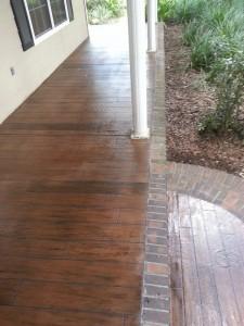 wood brick bordered front