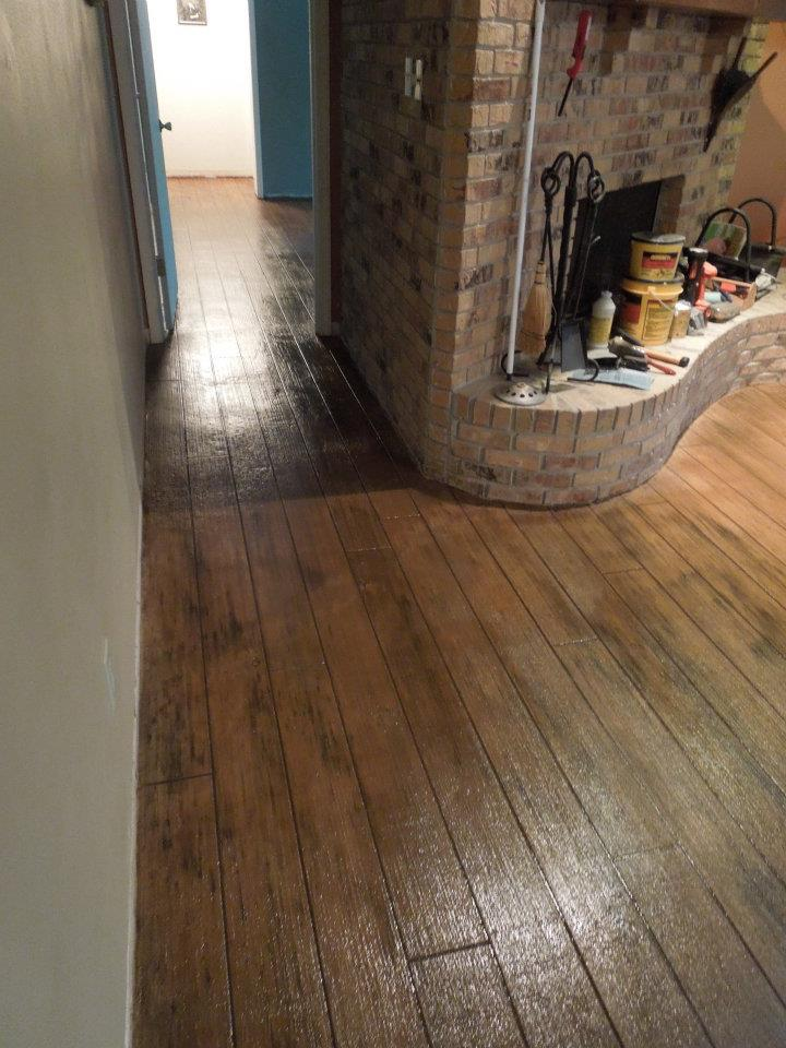 Stamped Concrete Interior Floors : Wood floor interior modern edge decorative concrete